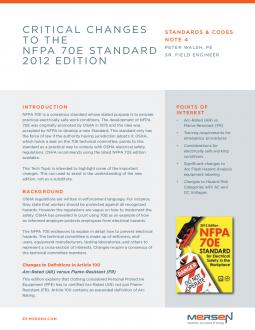 Cover of SCN4 - Significant Changes to the NFPA 70E Standard 2012 Edition - Tech Topic