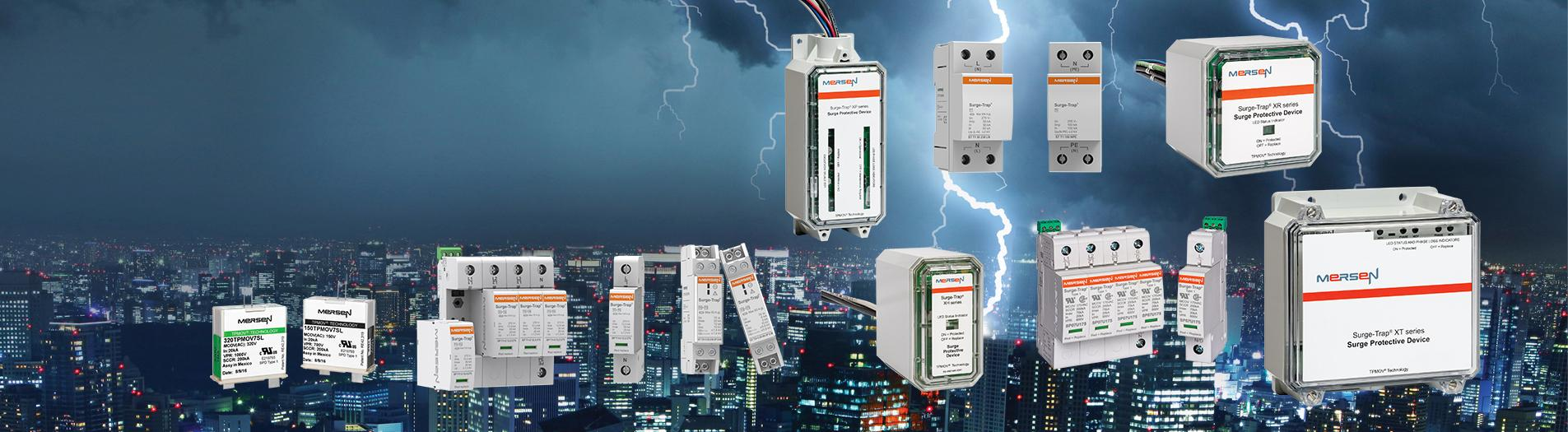 Home page banner showing global surge protection products